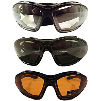 Amazon.com: 3 Pair Motorcycle Riding Glasses Smoke Clear
