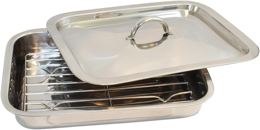 Plat /à lasagnes et /à gratins en acier inoxydable Pour r/ôtir Avec grille et couvercle