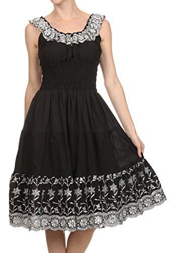 Sakkas Women's Lulu Sequin Embroidered Smocked Bodice Peasant Dress