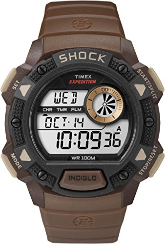 c9f8f570540f Timex Men s Digital Watch with LCD Dial Digital Display and Green Resin  Strap T49975  Amazon.co.uk  Watches