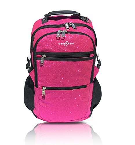 Sparkle Dance and Gymnastics Bag for Girls, Women, and Dancers, Comfy and Durable Backpack with Spacious Pockets and Laptop Compartment, Measures 7 in x 18 in x 12 in (Pink) - Obersee - Paris Laptop Carrying Backpack