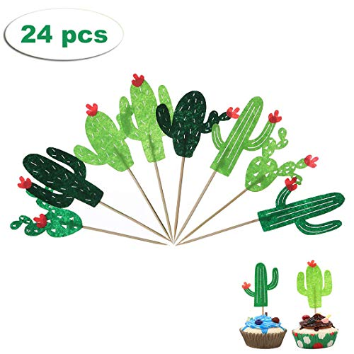 Efivs Arts 24pcs Cute Cactus Cake Cupcake Topper Kids Birthday Party Themed Party Baby Shower ()