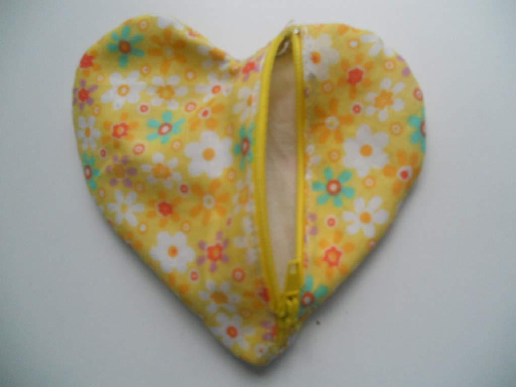 Monedero con cremallera, en forma de corazón, de color amarillo ...