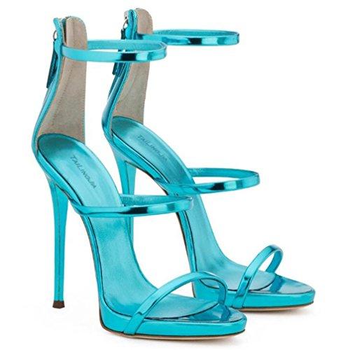 Des Aiguille Club Xie Verni eu42 Femmes Taille Rome Fête Robe Bretelles Lakeblue À Chaussures Cuir Les 45 Sandales Talon Pour 35 wq4qp
