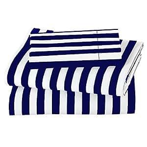 Amazon Com Marrikas 600tc Navy Stripe With White Sheet