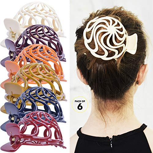 The Bun Maker Costume (RC ROCHE ORNAMENT Womens Shell Dome Round Circle Stylish Plastic Strong Grip Hinge Side Slide Bun Maker Clips Girls Beauty Accessory Hair Clip, 6 Pack Count Large Classic)