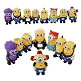 (4-6cmAmbizu 16pcs/lot Hot Mini Despicable Me Yellow Minion Toys Kids Cute Dolls Kids PVC Movie Figures Minions Doll Puppets Model Gift
