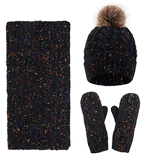 Womens Winter 3PC Cable Knit Beanie Hat Gloves&Scarf Set