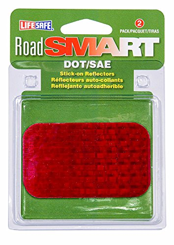 """Life Safe: Road Smart Rectangle Stick-On Reflectors High-Visibility, 2"""" x 3.5"""", Red (Pack of 2)"""