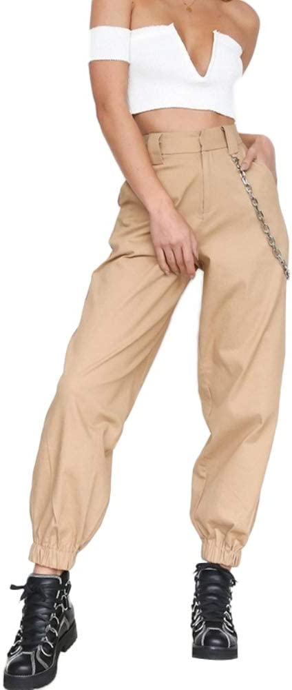 LPxdywlk Casual Women Solid Color Sports Cargo Breathe Pants Loose Ankle Tie Trousers with Chic Chain