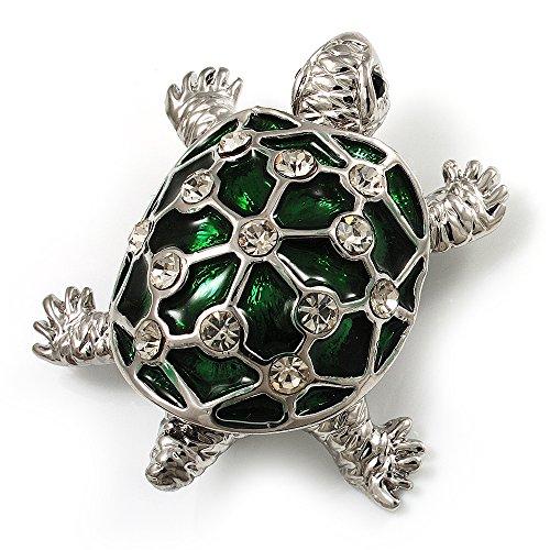 Avalaya Cute Green Enamel Crystal Turtle Brooch (Rhodium Plated)