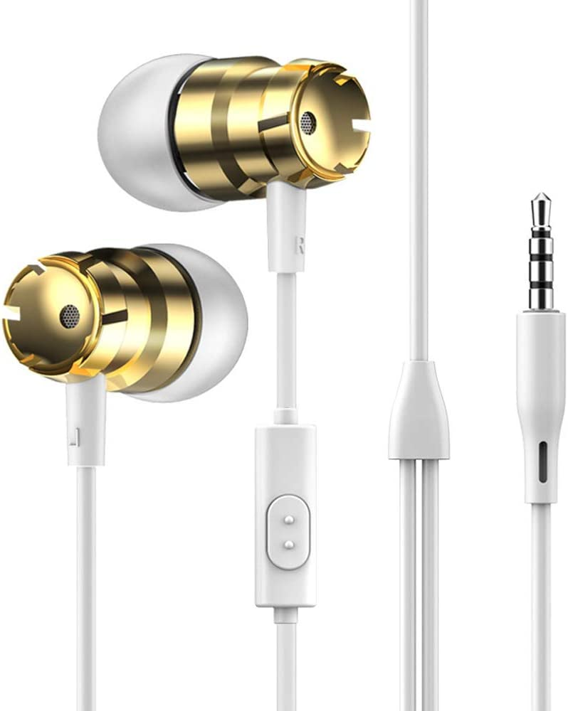 NIUTA Headphones Earphones Earbuds Earphones, Noise Islating, High Definition, Stereo for Samsung, iPhone,iPad, iPod and 3.5mm Devices, Gold