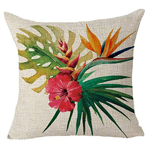 Queen's designer Hand-painted Tropical Red Flowers Gift Cotton Linen Decorative Throw Pillow Case Cushion Cover Square 18