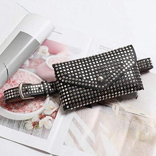 Moligh doll Rivets /à La Mode Sac de Taille Designer de Luxe Sac Banane Petites Femmes Sac de Taille T/él/éphone Pochette T/él/éphone Punk Sac de Ceinture Sac /à Main Noir