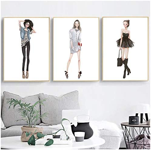 水彩ファッションガールウォールアートキャンバス絵画北欧ポスターとプリントポップアート壁写真用リビングルーム寝室-50x70x3P