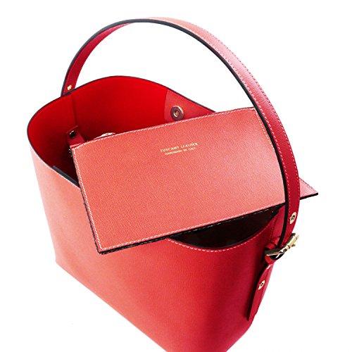 Tuscany Leather Arianna Bolso secchiello en piel Saffiano con bolsito interior Azul oscuro Bolsos con asas Rojo