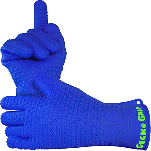 Verde River Products Gecko Grip Gloves - Silicone Heat Resistant Grilling BBQ - Oven - Grill - Baking - Smoking and Cooking Gloves Med-Large - Indigo Blue