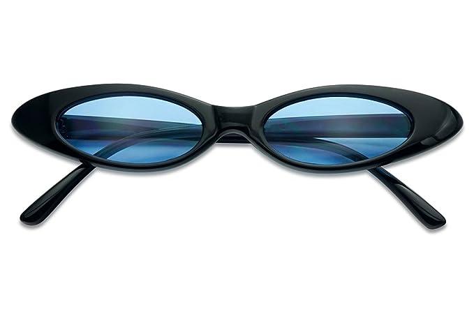 ad07c1043b SunglassUP - Mini Retro Oval Cat Eye Sun Glasses 90 s Vintage Clout Color  Tinted Shades (