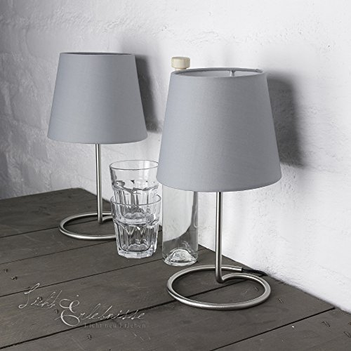 Dekorative Nachttischlampe im praktischem 2er Set mit Stoffschirm in grau & Metallfuß Tischleuchte Tischlampen Tischleuchten Nachttischleuchten Lampen