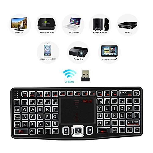 REIIE Backlit Version K03 Mini QWERTY Keyboard Adjustable DPI Touchpad for PC, HTPC, Apple, Xbox360, Wii, PS3, Black