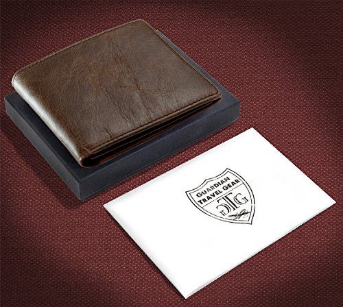 Gift Wallet and RFID Men Blocking incl for Box Distressed Brown Passport Sleeve Leather RFID zwAga