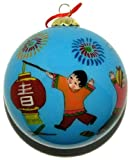 Hand Painted Glass Ornament, Children's Happy New Year CO-162