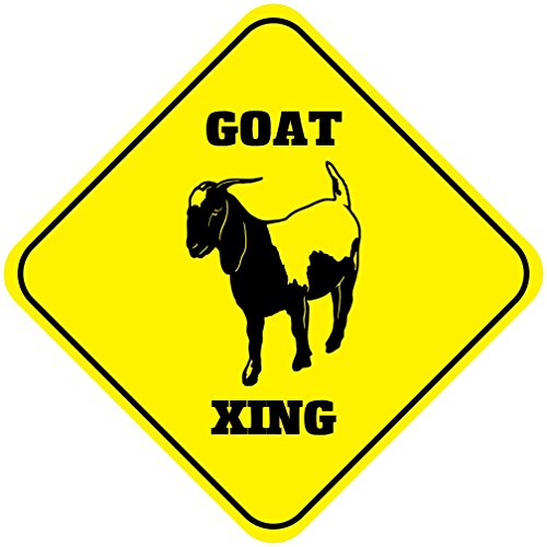 Aluminum Cross Sign Goat Crossing Style F Metal Wall Decor - 12