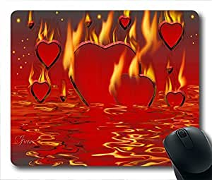 """Mouse Pads / Mouse Mats (0126080)Burning hearts Personalized Custom Mouse Pad Oblong Shaped in 220mm*180mm*3mm (9""""*7"""") by ruishername"""