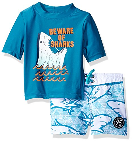 Osh Kosh Baby Boys' Beware of Sharks Short Sleeve Rash Guard Set, Turquoise, 24 Months
