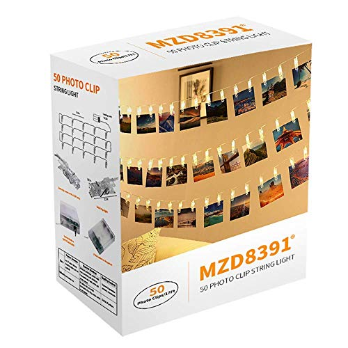 MZD8391 [Upgraded] 50 Photo Clips String Lights/Holder, Indoor Fairy String Lights for Hanging Photos Pictures Cards and Memos, Ideal Gift Photo Clip Holder for Dorms Bedroom Decoration (Warm White)