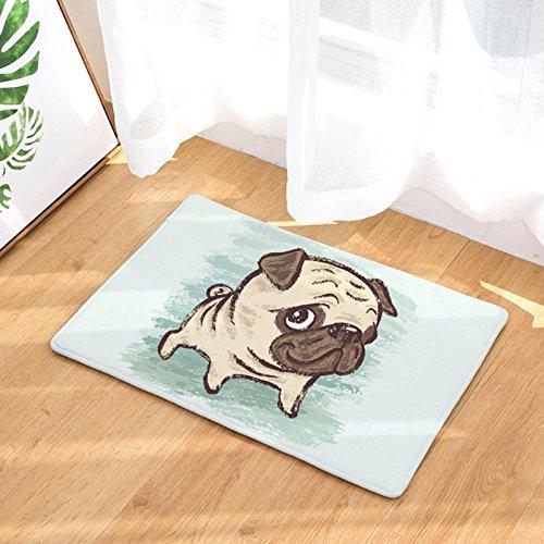 YJBear Cartoon Cute Pug Puppy Dog Hanging Bone Pattern Floor Mat Coral Fleece Home Decor Carpet Indoor Outdoor Area Rug Rectangle Doormat Kitchen Floor Runner 16