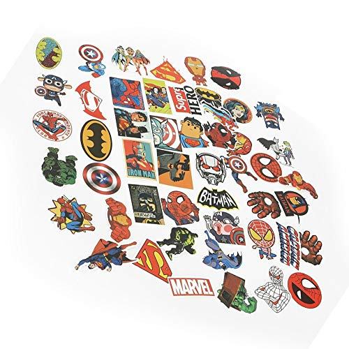 Price comparison product image Bondpaw 50 Pcs Cartoon Vinyl Stickers Pack, Superheroes Waterproof Stickers Bomb for Laptop Car Helmet Luggage Skateboard Computer Keyboard Fridge Personalize Decals