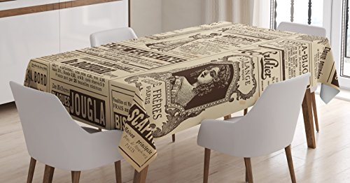 Ambesonne Paris Tablecloth, Vintage Old Historic Newspaper Journal French Paper Lettering Art, Dining Room Kitchen Rectangular Table Cover, 52 W X 70 L inches, Light Brown Caramel and White