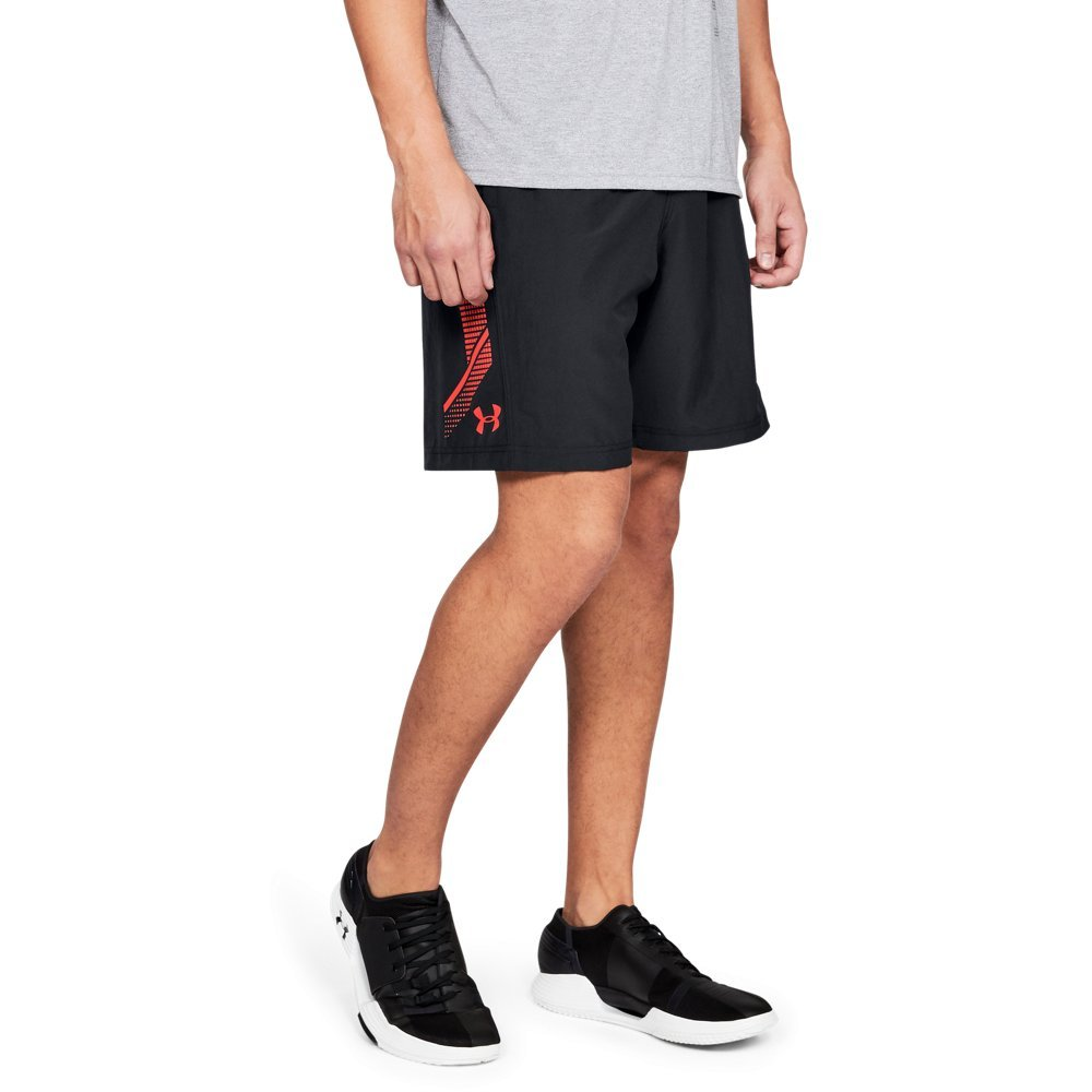Under Armour Men's Woven Graphic Shorts, Black /Neon Coral, Large by Under Armour