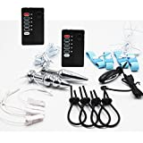 E-Stim 4 System Massagers Electro Twin Stim Electric Massage Devices for Fetish Play With Accessories Loops Stainless Steel Plugs Clamps Rings