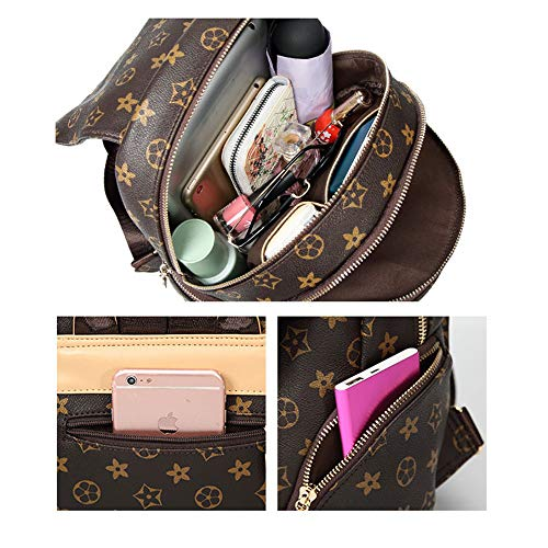 Women Ladies Bag Mini Leather bag Girls Print PU Wallet Backpack Backpack Travel Rucksack Brown Fashion Shoulder 0wqXxg