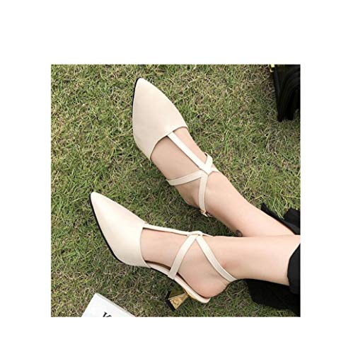 (GanQuan2018 Women Slingback Heeled Shoes Sexy Pointed Toe T-Strap Hasp Bridal Stiletto Pumps)