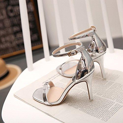 Pour Argent Ouvert Dames Hauts Ruiren Chaussures Talons Femmes Cheville Sandales xzwCq0F