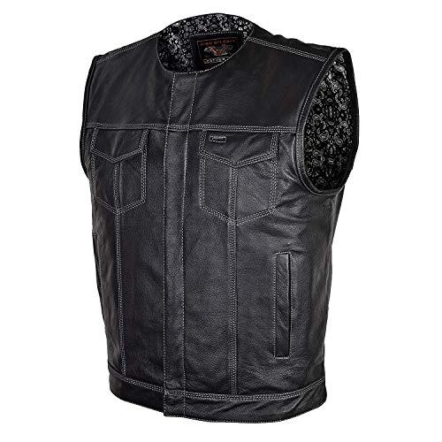 Mens Motorcycle Paisley Liner Collarless SOA premium Patch holder outside access gunpocket leather vest (XL)