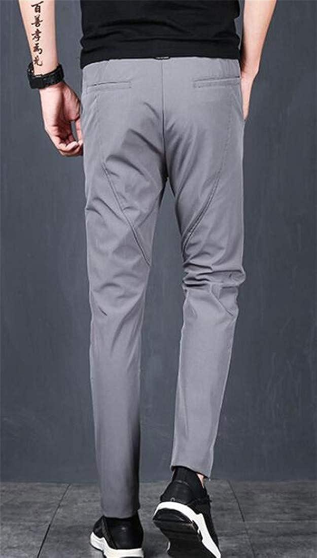 Cromoncent Mens Drawstring Stretch Slim Fit Elastic Waist Trousers Sports Pants