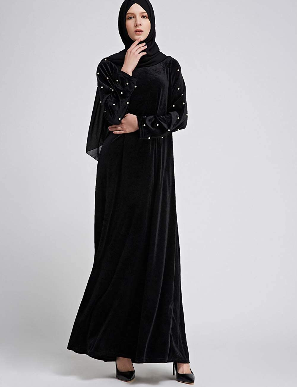 28185037779f3 Amazon.com  BESBOMIG Women s Velvet Dresses Beading Maxi Long Dress Abaya  Muslim Jilbab Kaftan  Clothing