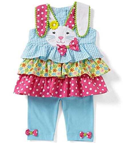 Rare Editions Girls Floral Easter Bunny Seersucker Set (3m-4t) (4t)