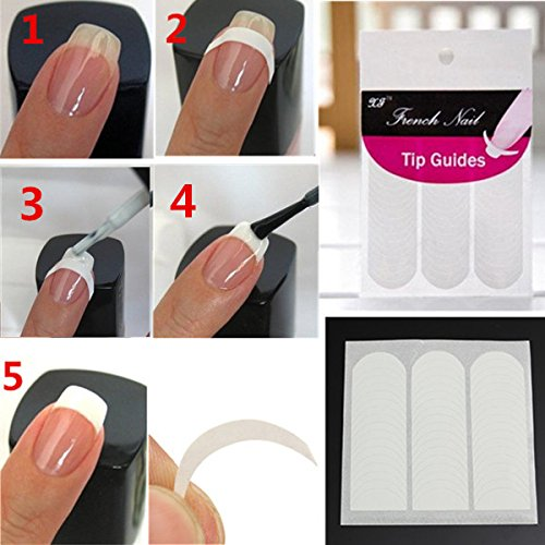 51Pcs Nail Art Smile Striping Line French Guide Tips Stickers - French Style - For Your Finding Shape Face Glasses