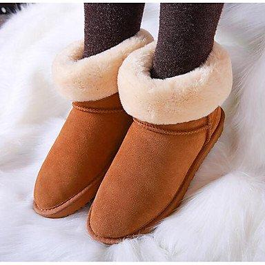 Botas de la mujer Confort Suede Primavera confort informal Camel Fucsia gris plano Fuchsia