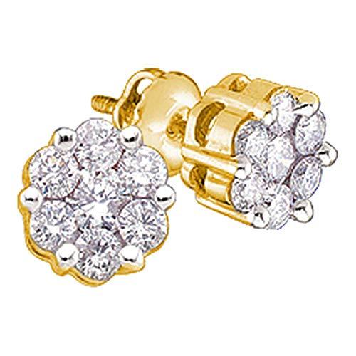 (14k Yellow Gold Round Diamond Flower Cluster Womens Screwback Stud Earrings 1/6 Cttw)