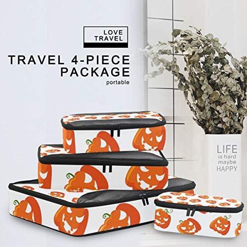 ハロウィンのカボチャアート荷物パッキングキューブオーガナイザートイレタリーランドリーストレージバッグポーチパックキューブ4さまざまなサイズセットトラベルキッズレディース