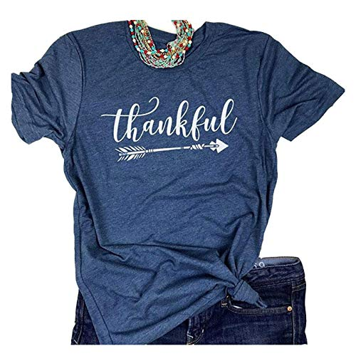 (Enmeng Womens Blessed Thankful Printed T-Shirt Casual Thanksgiving Christian Tee Tops (XL, Thankful-Navy))