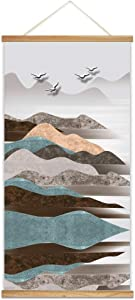"""SIGNFORD Wooden Framed Hanging Poster Nordic Style Nature Landscape Wall Picture Canvas Artwork for Home Decoration Ready to Hang - 18""""x36"""""""