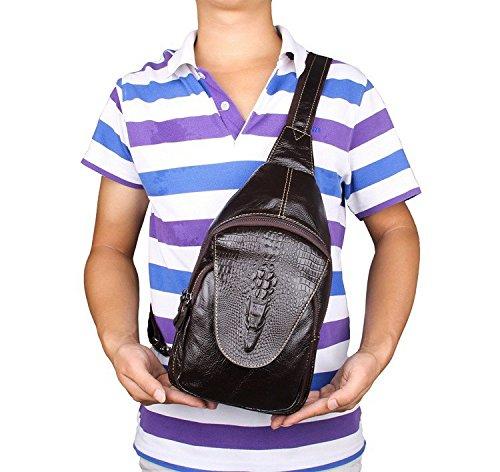 Hongrun Mens Casual Brust pack Leder Brust pack Krokodil Texturen cool Brust Pack