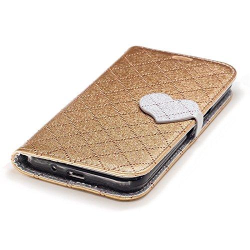 SRY Cubierta magnética de la caja del tirón de la cartera del cuero de la PU del cierre magnético para Samsung Galaxy J3 / J3 2016 J310 ( Color : White ) Gold